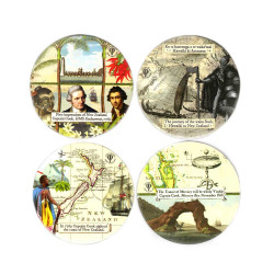Coasters: Discovery of New Zealand by The Maori and Captain Cook. Set of 4 (Ceramic)