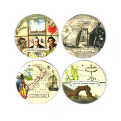 Coasters: Discovery of New Zealand by The Maori and Captain Cook. Set of 4 (Hardboard)
