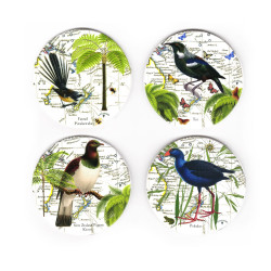 Coasters: NZ Birds. Fantail, Tui, Pigeon and Pukeko. Set of 4 (Ceramic)