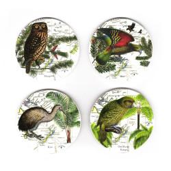 Coasters: NZ Birds. Morepork Owl, Kea, Kiwi and Kakapo. Set of 4 (Ceramic)