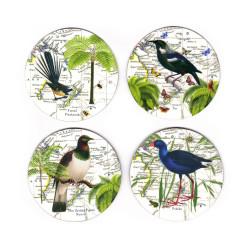 Coasters: NZ Birds. Fantail, Tui, Pigeon and Pukeko. Set of 4 (Hardboard)