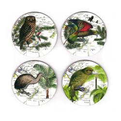 Coasters: NZ Birds. Morepork Owl, Kea, Kiwi and Kakapo. Set of 4 (Hardboard)