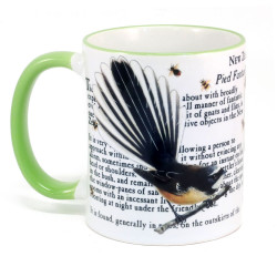 Mug: Fantail Bird Of New Zealand (Colored Rim & Handle)