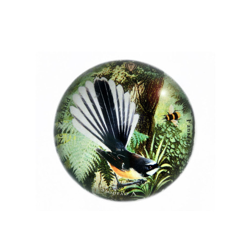 Paperweight: Fantail In New Zealand Forest (Handmade). Made in New Zealand gift.