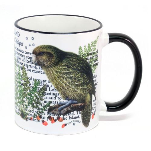 Mug: Kakapo Parrot Of New Zealand (Colored Rim & Handle). Made in New Zealand gift.