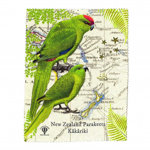 Lens and Screen Cleaning Cloth: Kakariki Parakeets of New Zealand. Made in New Zealand gift.