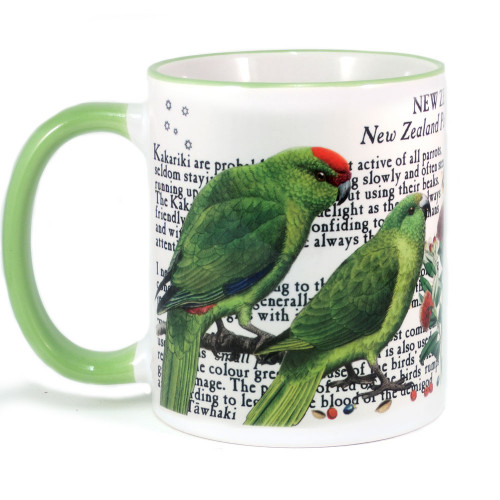 Mug: Kakariki Parakeets of New Zealand (Colored Rim & Handle). Made in New Zealand gift.