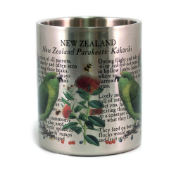 Mug: Kakariki Parakeets of New Zealand (Stainless Steel Mug)