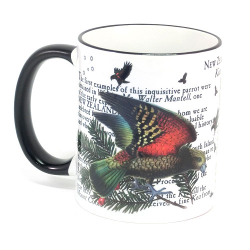 Mug: Kea Parrot Of New Zealand (Colored Rim & Handle). Made in New Zealand gift.