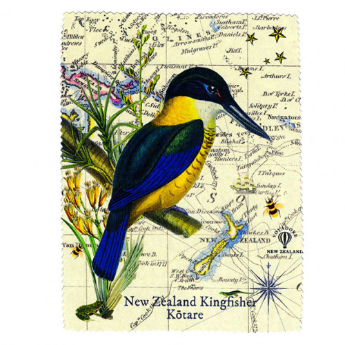 Lens and Screen Cleaning Cloth: New Zealand Kingfisher. Made in New Zealand gift.