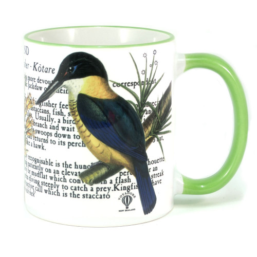 Mug: Kingfisher Of New Zealand (Colored Rim & Handle). Made in New Zealand gift.
