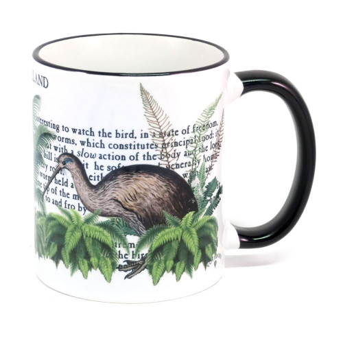Mug: Fantail Bird Of New Zealand (Colored Rim & Handle). Made in New Zealand gift.