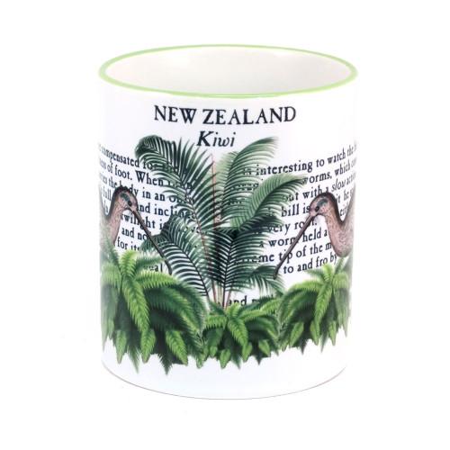 Mug: Kiwi Of New Zealand (Colored Rim & Handle). Made in New Zealand gift.