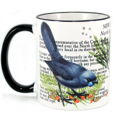 Mug: Kokako Bird Of New Zealand (Colored Rim & Handle)
