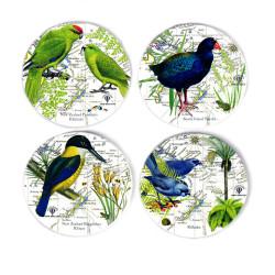 Coasters: NZ Birds. Takahe, Kokako, Kakariki Parakeets and NZ Kingfisher. Set of 4 (Ceramic)