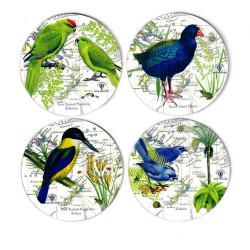 Coasters: NZ Birds. Takahe, Kokako, Kakariki Parakeets and NZ Kingfisher. Set of 4 (Hardboard)