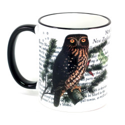 Mug: Morepork Owl of New Zealand (Colored Rim & Handle)