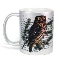 Mug: Morepork Owl of New Zealand (Sparkling Silver Mug)