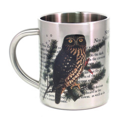 Mug: Morepork Owl of New Zealand (Stainless Steel Mug)