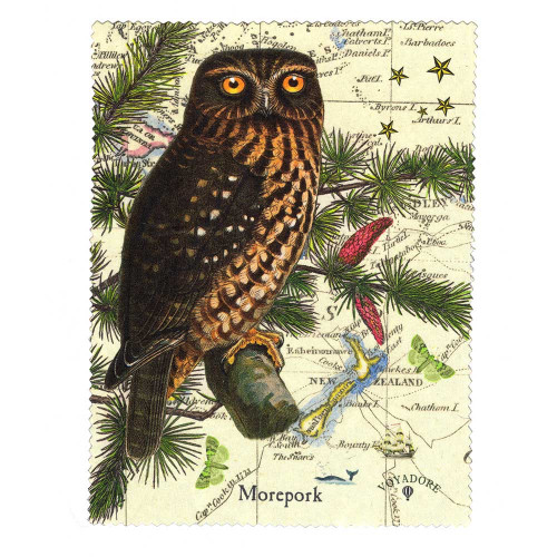Lens and Screen Cleaning Cloth: Morepork Owl of New Zealand. Made in New Zealand gift.