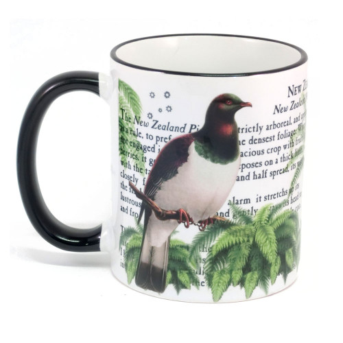 Mug: New Zealand Pigeon (Colored Rim & Handle). Made in New Zealand gift.