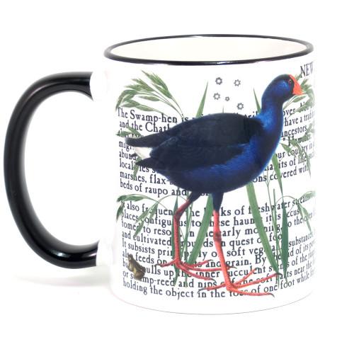 Mug: Pukeko Of New Zealand (Colored Rim & Handle). Made in New Zealand gift.