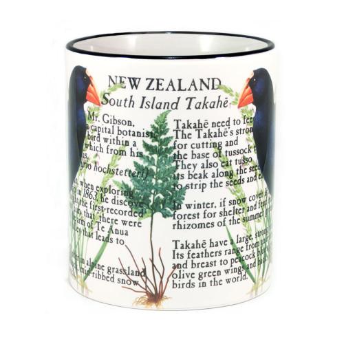 Mug: Takahe Of New Zealand (Colored Rim & Handle). Made in New Zealand gift.