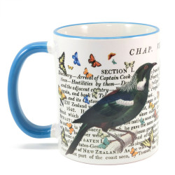 Mug: Tui & Captain Cook's Discovery of New Zealand (Colored Rim & Handle)