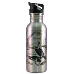 Water Bottle: Pacific Birds (Silver)