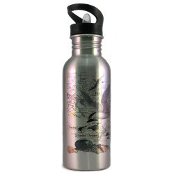 Water Bottle: Pacific Birds (Silver)