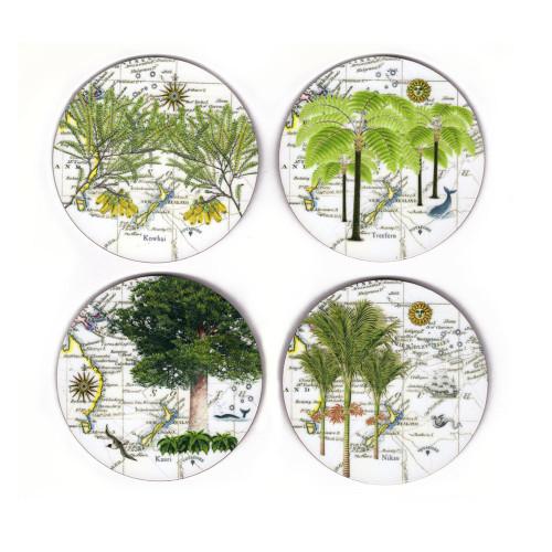 Coasters: NZ Flora. Nikau Palm, Tree Fern, Kauri and Kowhai. Set of 4 (Hardboard). Made in New Zealand gift.