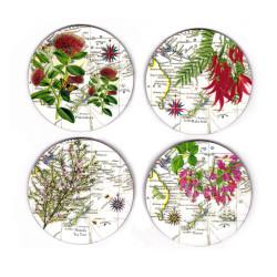 Coasters: NZ Flora. Pohutukawa, Kaka Beak, Manuka and Puriri. Set of 4 (Hardboard)