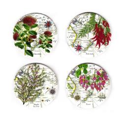 Coasters: NZ Flora. Pohutukawa, Kaka Beak, Manuka and Puriri. Set of 4 (Ceramic)