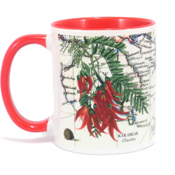 Mug: Kakabeak Flowers And Pacific Map (Colored Handle & Inner)