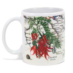 Mug: Kakabeak Flowers And Pacific Map (White Mug)