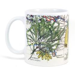 Mug: Kowhai Tree And Pacific Map (White Mug)