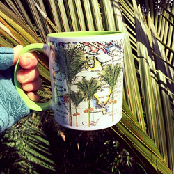 Mug: Nikau Palm Tree And Pacific Map (Colored Inner & Handle)