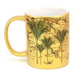 Mug: Nikau Palm Tree And Pacific Map (Sparkling Gold Mug)