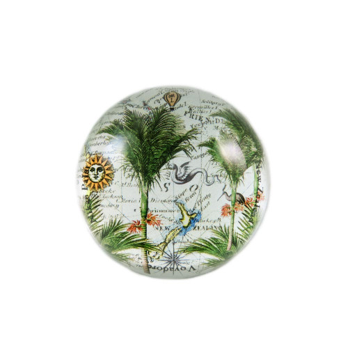Paperweight: Nikau Palms And Pacific Map (Handmade). Made in New Zealand gift.
