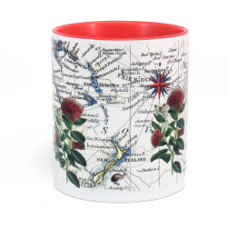 Mug: Pohutukawa Tree And Pacific Map (Colored Handle & Inner)