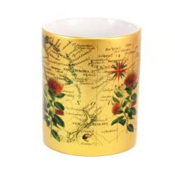 Mug: Pohutukawa Tree And Pacific Map (Sparkling Gold Mug)