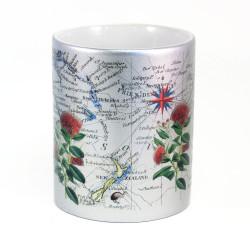Mug: Pohutukawa Tree And Pacific Map (Sparkling Silver Mug)