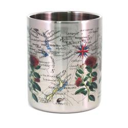 Mug: Pohutukawa Tree And Pacific Map (Stainless Steel Mug)