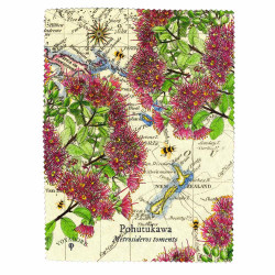 Lens and Screen Cleaning Cloth: Pohutukawa Tree And Pacific Map