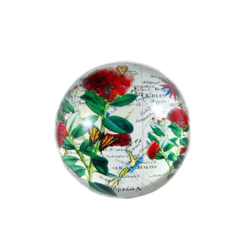 Paperweight: Pohutukawa And Pacific Map (Handmade). Made in New Zealand gift.