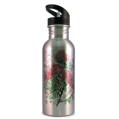 Water Bottle: Pohutukawa Tree And Pacific Map (Silver)