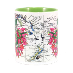 Mug: Puriri Tree And Pacific Map (Colored Handle & Inner)