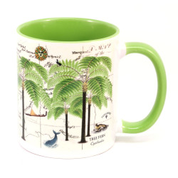Mug: Tree Fern And Pacific Map (Colored Inner & Handle)