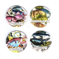 Coasters: Sublime Sea Dwellers.Peculiar Fish, Extraordinarily eyed Fish, Curious Fish and Sharks Set of 4 (Ceramic)