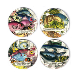 Coasters:Sublime Sea Dwellers.Peculiar Fish, Extraordinarily eyed Fish, Curious Fish and Sharks. Set of 4 (Hardboard)